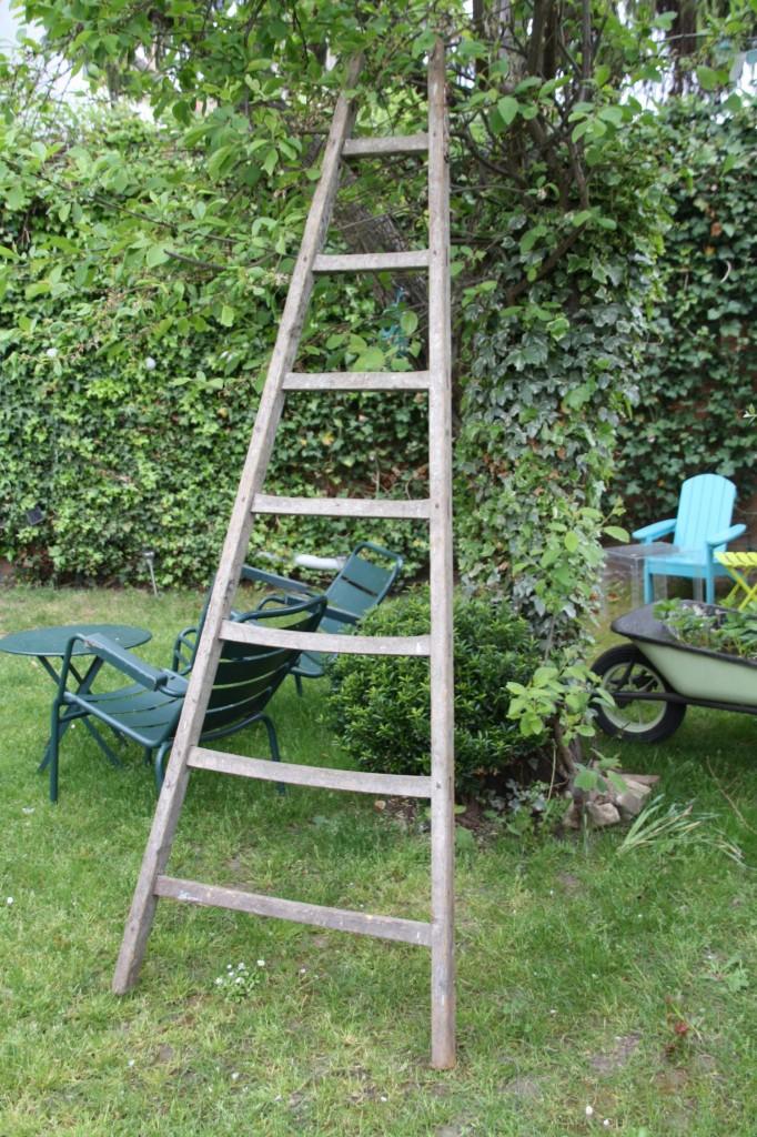 échelle en bois campagne vintage Rouge Garden
