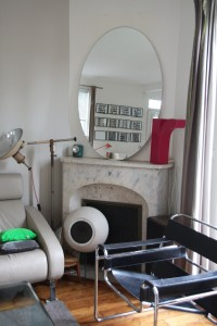 Grand miroir années 50 ovale mobilier vintage Rouge Garden