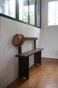 ancien banc en bois années 50 60 mobilier vintage Rouge Garden