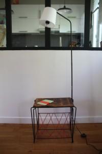 ancien lampadaire table métal années 50 scoubidou Rouge Garden