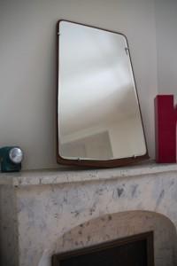ancien miroir vintage rétroviseur Années 50 60 Rouge Garden