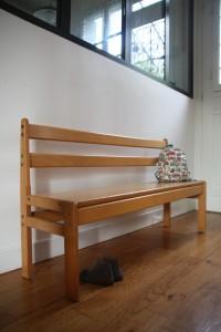 ancien petit banc d'école en bois mobilier vintage Rouge Garden