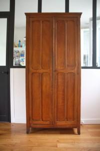 armoire parisienne en bois années 50 60 mobilier vintage Rouge Garden