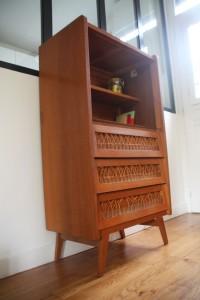 buffet ancien années 50 60 rotin bois mobilier vintage Rouge Garden