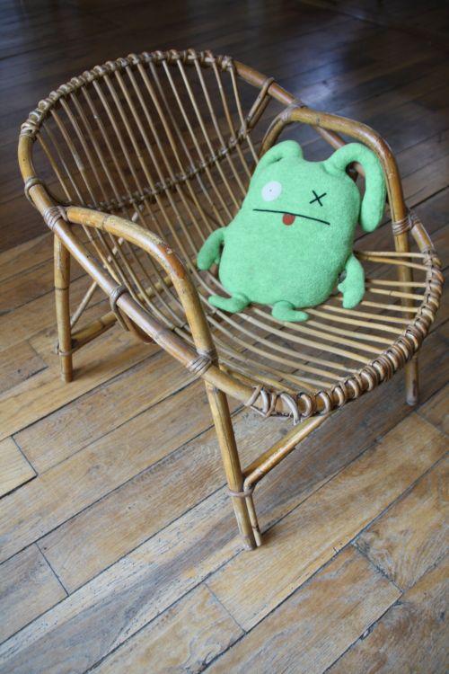 chaise en rotin années 1960 vintage Rouge Garden