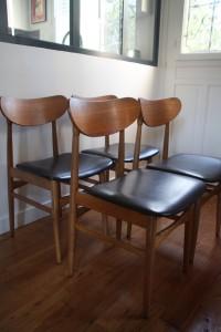 chaises scandinaves années 50 bois et skia mobilier vintage Rouge Garden