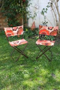 chaises transat vintage années 70 Rouge Garde