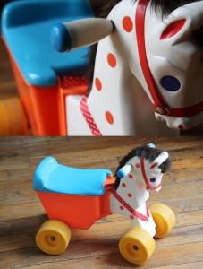 cheval fisher priceà roulettes jouet vintage Rouge Garden