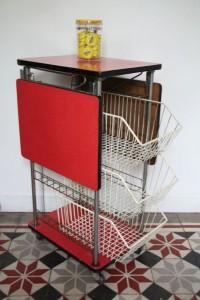 desserte console formica rouge années 60 Rouge Garden