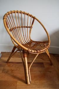 fauteuil corbeille rotin osier Rouge Garden