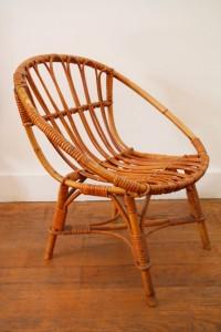 fauteuil enfant rotin Rouge Garden