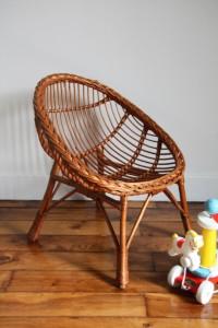 fauteuil rotin osier vintage Rouge Garden