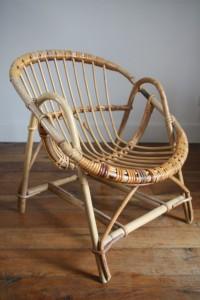 fauteuil rotin rond enfant Rouge Garden