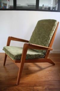 fauteuil vintage années 50 teck pieds compas Rouge Garden