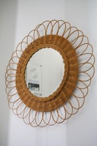 miroir rotin osier Rouge Garden