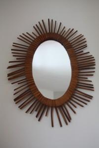miroir rotin osier soleil mobilier vintage Rouge Garden