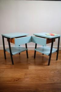 paire de chevets mobilier vintage années 50 70 Rouge Garden