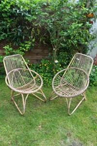 paire de fauteuils salon rotin années 50 60 mobilier vintage Rouge Garden