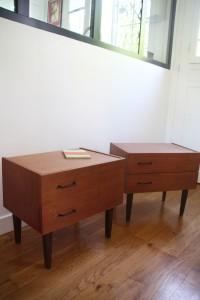 paire de table de nuit chevets scandinaves années 50 60 mobilier vintage Rouge Garden