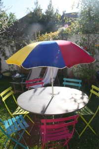 parasol années 60 70 vintage Rouge Garden