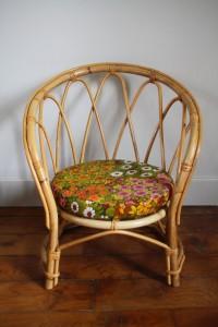 petit fauteuil enfant rotin vintage Rouge Garden