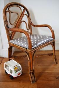 petit fauteuil rotin vintage Rouge Garden