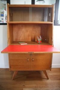 petit secrétaire années 50 pieds compas mobilier vintage Rouge Garden