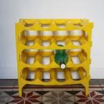 porte bouteilles jaune années 70 mobilier vintage Rouge Garden