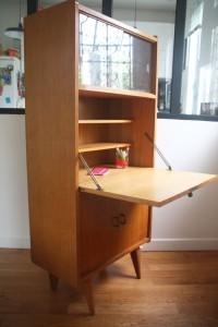 secrétaire années 50 pieds compas mobilier vintage Rouge Garden