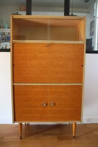 secrétaire pieds compas années 50 mobilier vintage Rouge Garden