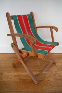 transat fauteuil enfant mobilier vintage Rouge Garden