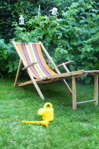 chaise longue transat rétro vintage Rouge Garden