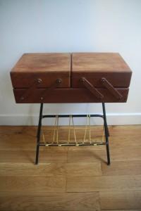 travailleuse porte-revue scoubidou mobilier vintage années 50