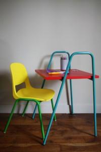 table bureau  enfant design Nomad rouge et turquoise Rouge Garden